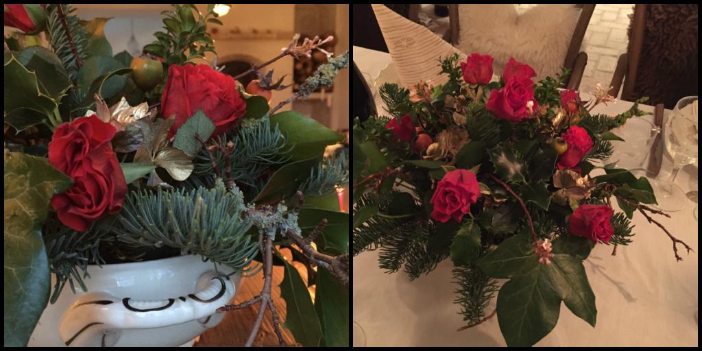 Dekoration med røde roser