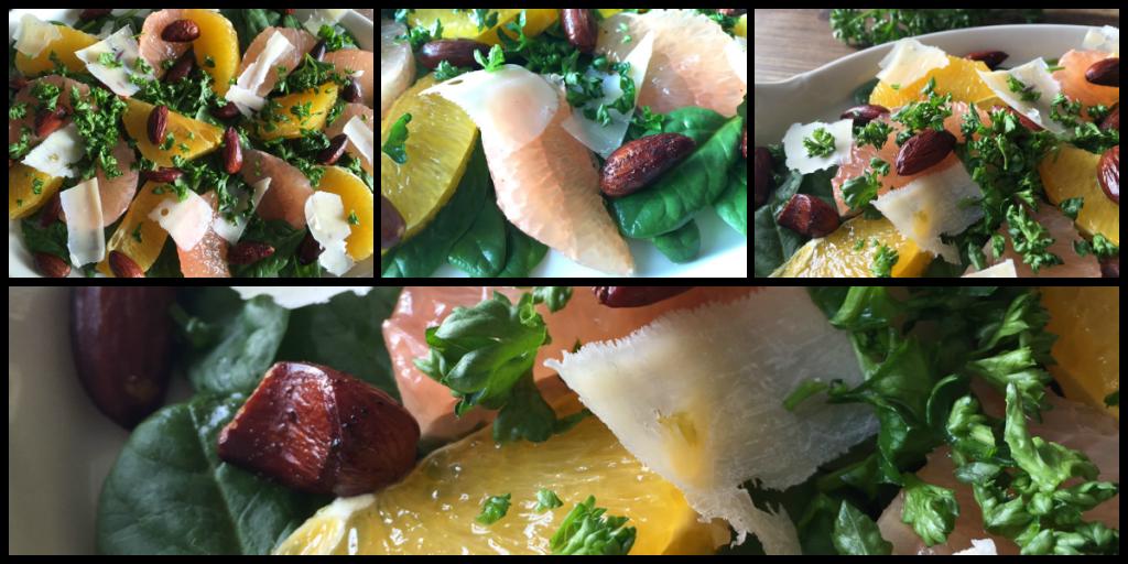 Salat med citrus og babyspinat