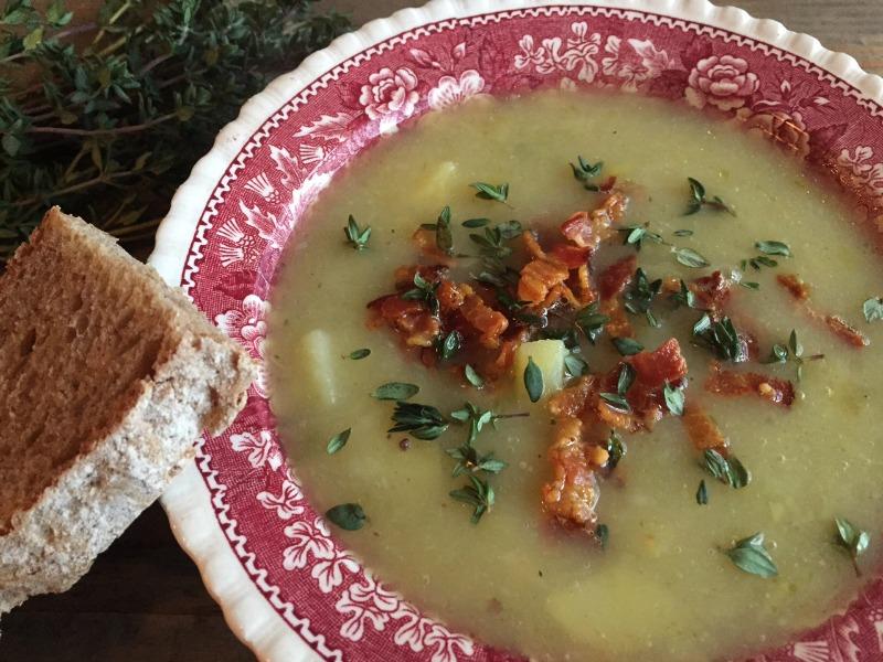 suppe med kartofler, bacon og timian