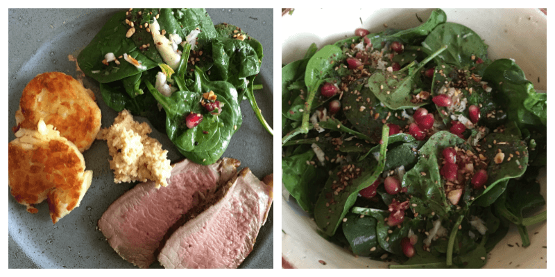 Spinatsalat til kød