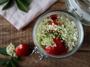 Hyldeblomst-jordbærsnaps