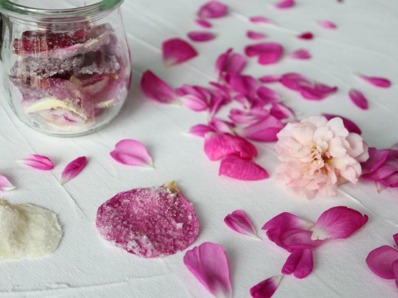 Kandiserede rosenblade