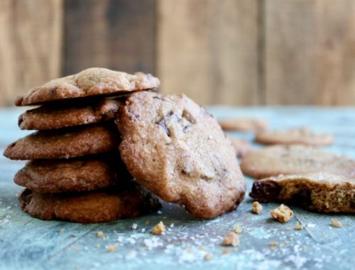 Saltede chocolate chip cookies