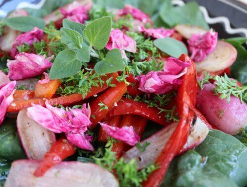 Grøn og rød salat med spinat