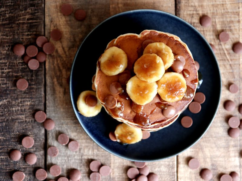 Pandekager med bananer