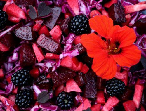 Salat med røde ingredienser