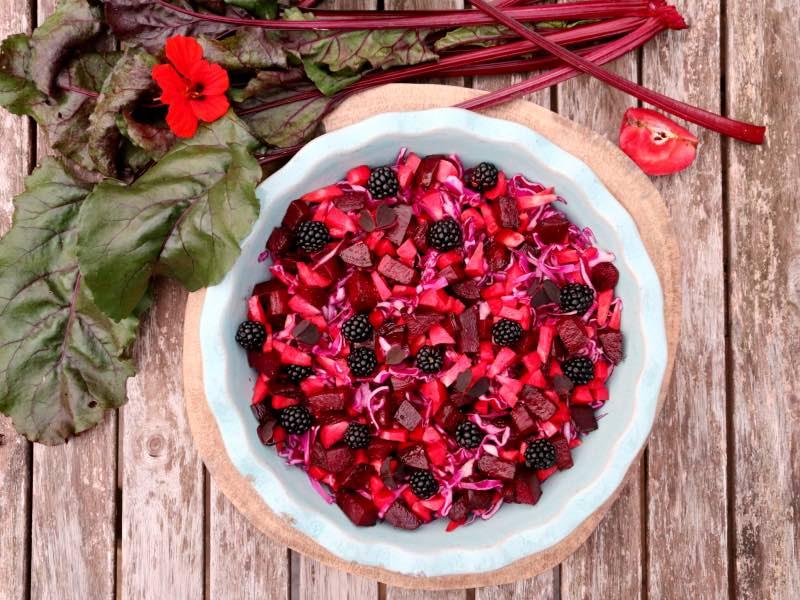 En dejlig rød efterårssalat