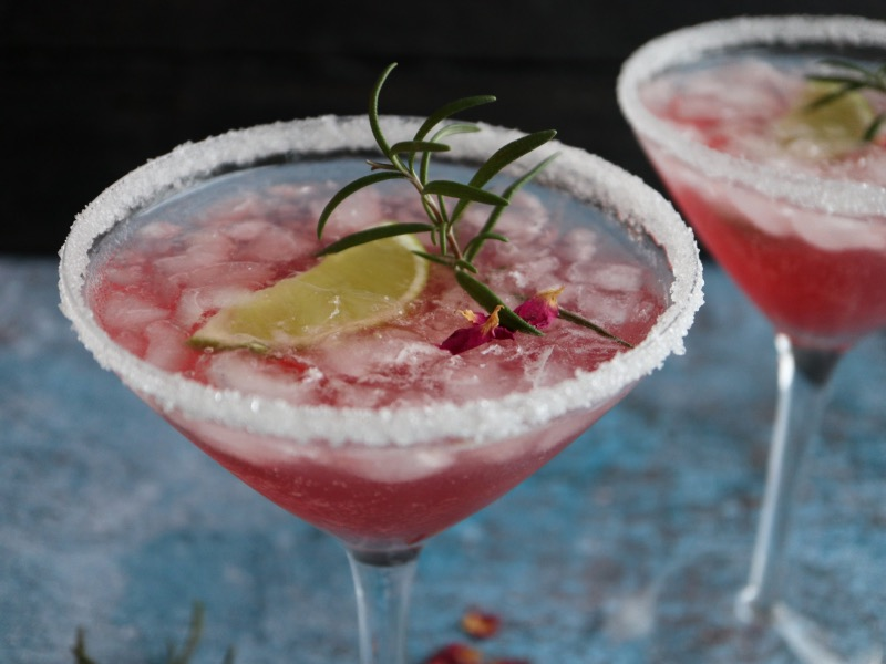 Pink gin cocktail